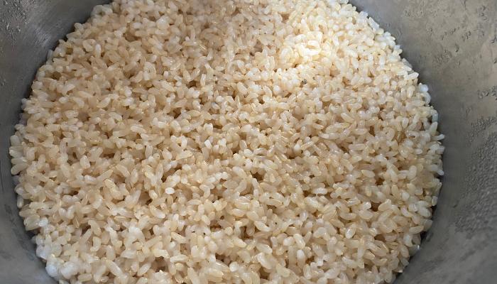 玄米ご飯 かに穴